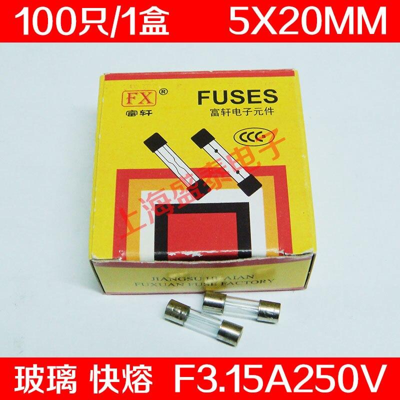 F3.15al250v f3.15a250v f3.15a tubo de fusível de vidro 5x20mm 100 pces