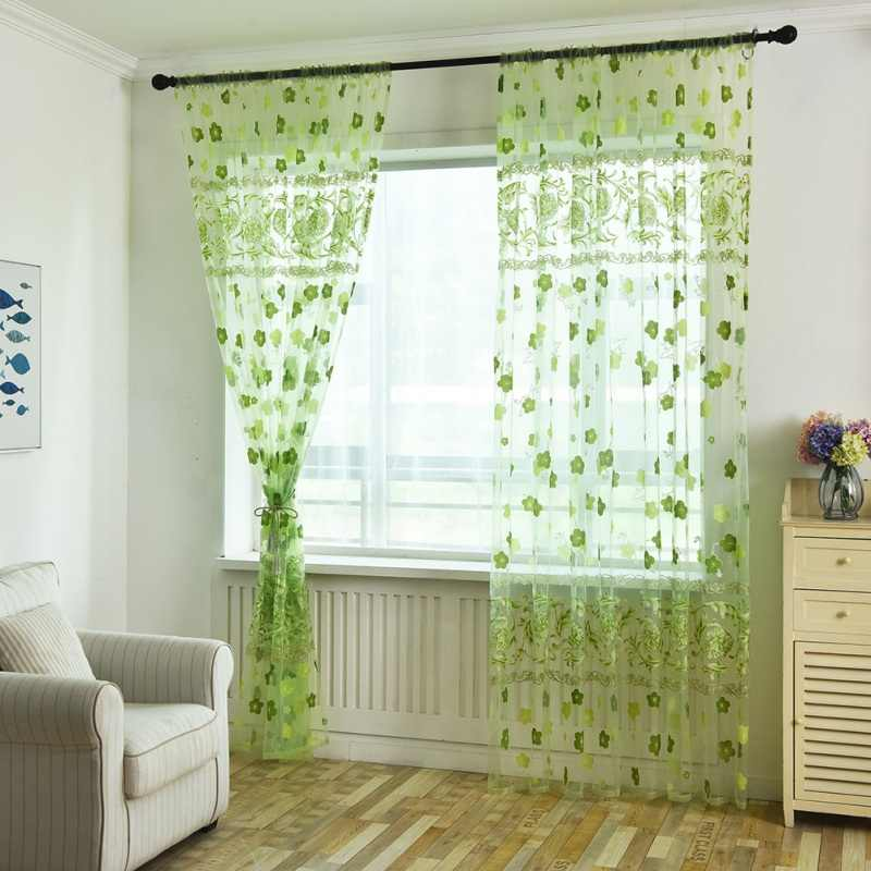 romantic rustic curtain yarn customize finished products balcony green pink tulle fabrics floral design sheer panel