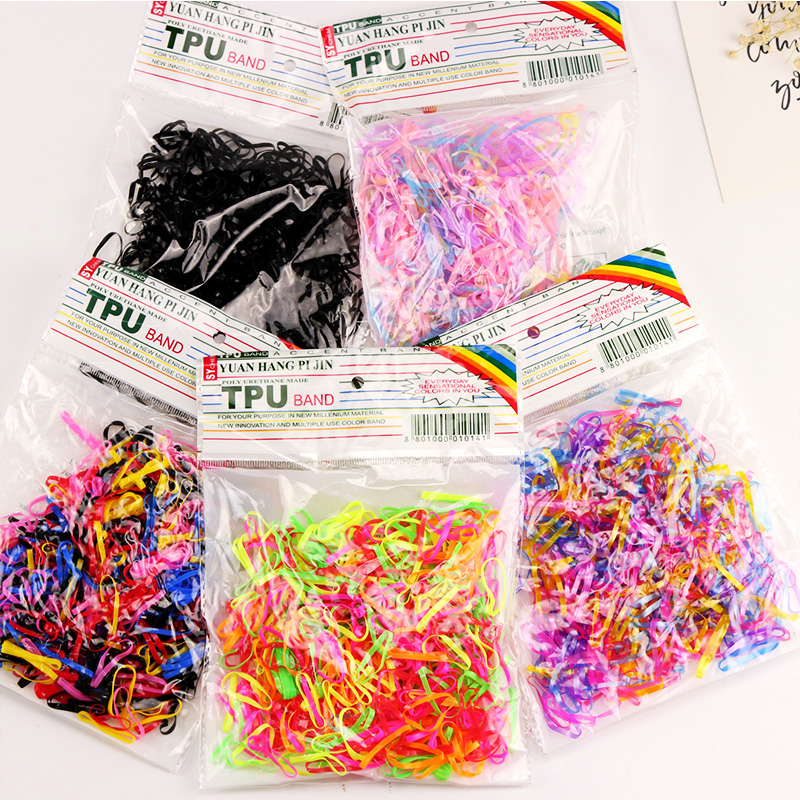 300PCS/Lot New High Quality Colorful Elastic Hair Bands Tie Gum Ponytail Holder Headband Black Hair Ropes Girls Hair Accessories  5pcs lot new kids small hair ropes candy colors elastic hair bands rubber bands girls ponytail holder hair accessories tie gums