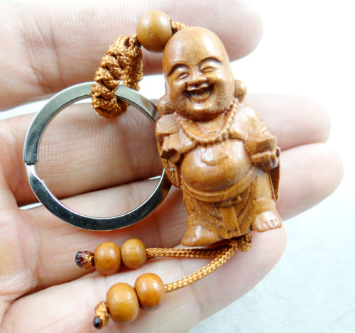 Natural mahogany three-dimensional engraving Buddha wood keychain realistic key ring jewelry gift for men and women 1pc image