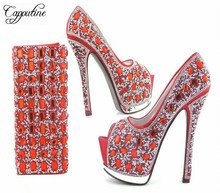 Capputine European Style Rhinestone Super High Heels Shoes And Bags Italian Ladies Shoe And Bag Set