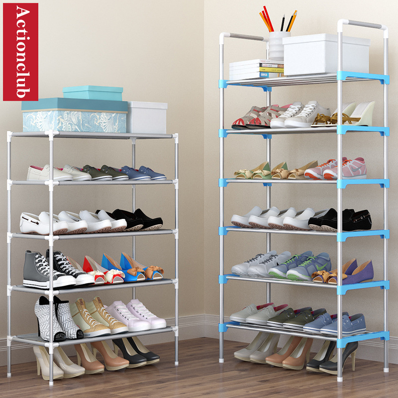 Actionclub Simple Multi-layer DIY Assembly Metal Iron Shoe Shelf Student Dormitory Shoe Storage Rack Large Capacity Shoe Cabinet цены