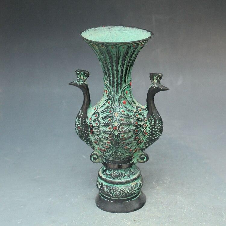 Китайский древние бронзовые ювелирные изделия двойной Феникс павлин феникс ваза горшок бутылки украшения дома Бесплатная доставка