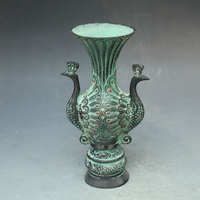 Chinese ancient bronze jewelry double phoenix Peacock phoenix vase pot bottles Home Decoration Free Shipping