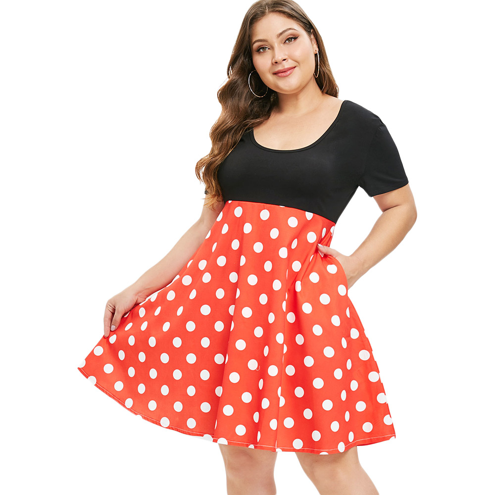 ZAN.STYLE Plus Size Red Polka Dot Vintage Women Flare Dress Casual Color  Patchwork Shirt Dress Short Sleeve Knee Length Dresses