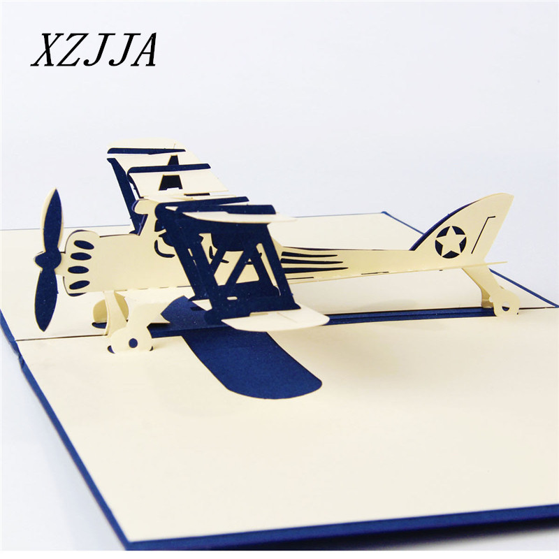 3D Airplane Model Origami Postcard Paper Laser Cut Pop Up New Year Post Cards Christmas Wishes Gift Greeting Cards