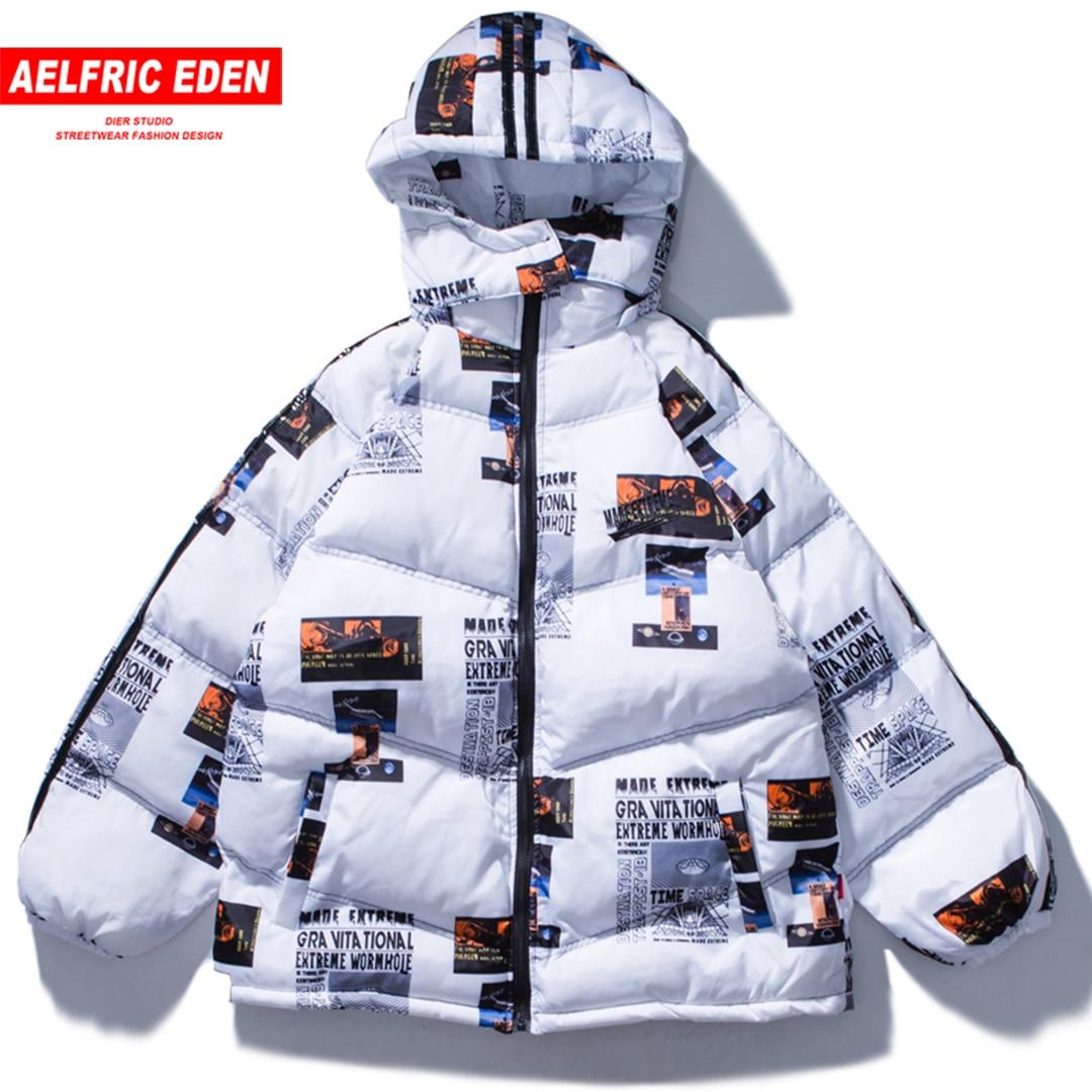 Aelfric Eden Letter Print Hooded Parkas Jackets Warm Hip Hop Padded Coat Harajuku Streetwear Cotton Winter Jacket Men Women