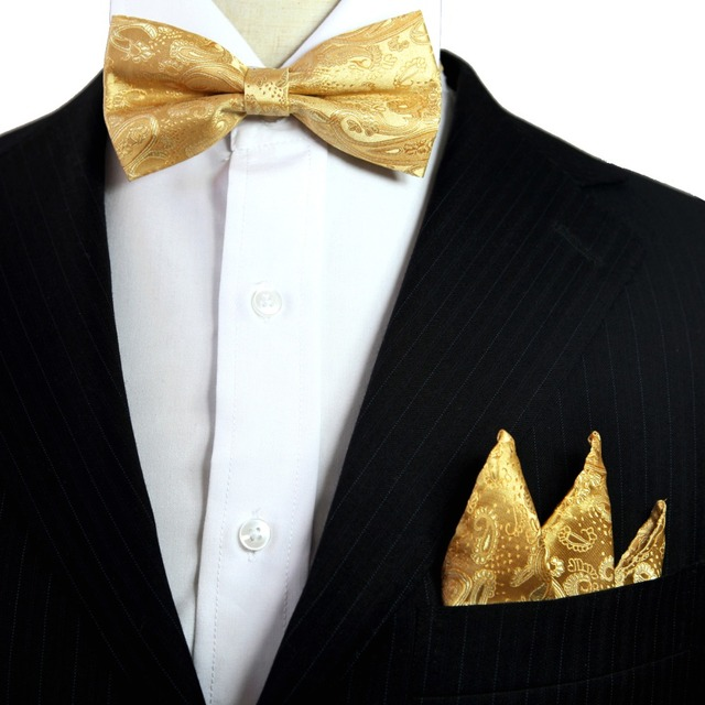 0727c154189b Paisley Floral Solid Yellow Gold Tuxedo Bow Tie Pre-tied Mens 100% Silk Adjustable  Hanky Set Formal Fashion Casual Party