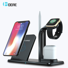 DCAE Qi Wireless Charger 10W Fast Charging Stand for IPhone 8 XS X XR Apple Watch 4 3 2 Airpods Pencil Holder For Samsung S10 S9 carprie qi fast 3 ports wireless charger holder stand charging dock for iphone x apple pencil airpods 20a drop shipping