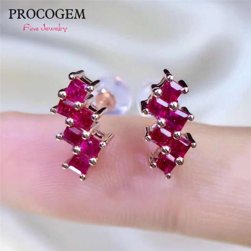 Natural Burma No heated Trendy Ruby Stud Earrings for Women Party High quality Genuine gemstone Fine jewelry S925 Silver #401
