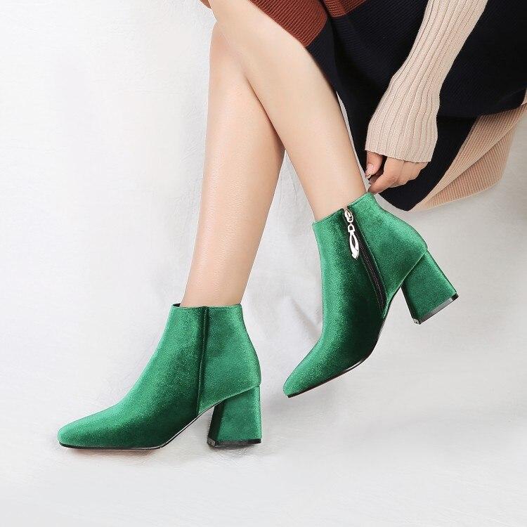 SALCXOI ankle boots for women winter boots women autumn women shoes 2017 fashion bling square toe shoes woman free shipping &H6