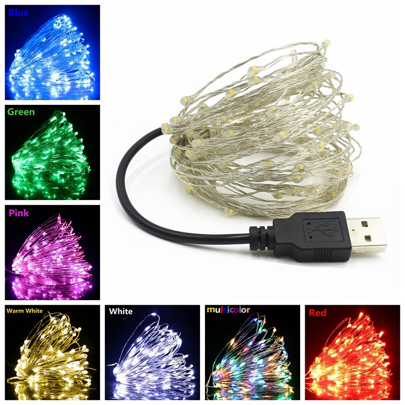 DC 5V USB Powered Waterproof LED Copper Silver Wire String Lights 1M 2M 3M 4M 5M 10M 20M Decor Xmas Holiday Fairy Garland Light
