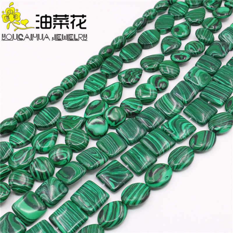 Зеленый круглый Овальный квадратный капли воды твист риса Малахит свободные бусины DIY 15 дюймов ювелирных изделий аксессуар для цепочки и