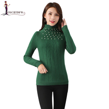 Autumn Winter Women Knitted Sweater 2018 Fashion Beading Wild Long-sleeved Sweater Half-high Collar Slim Knit Pullover Sweaters cable knit half zip up pullover sweater