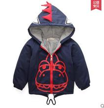 Children's wear winter hooded cotton-padded jacket baby boy cartoon thick clothing wadded jacket 0 1 2 years old baby clothes