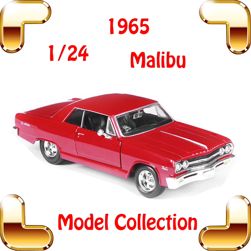 New Year Gift Malibu 1965 1/24 Metal Model Classic Car Alloy Collection Toys Metallic Scale Model Mini Cars Present For Boys new year gift wrangler rubicon 1 18 metal model car collection alloy jeep classic suv toys for friend simulation metallic
