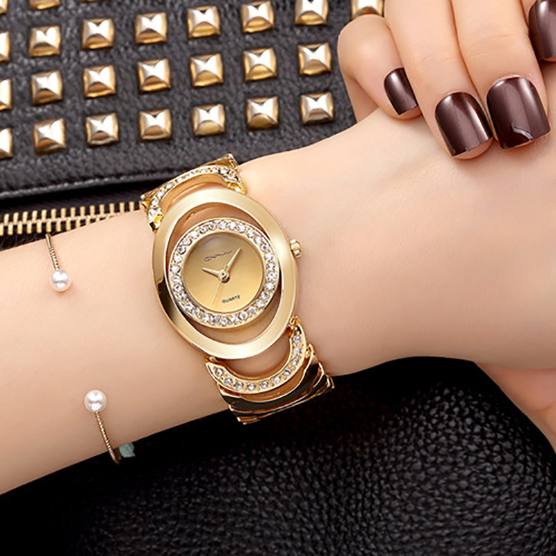 2017 Fashion Casual Wrist Watch Women Gold Silver Lady Bracelet Golden Brand Wristwatch Relogio Feminino Hodinky Montre Femme 36