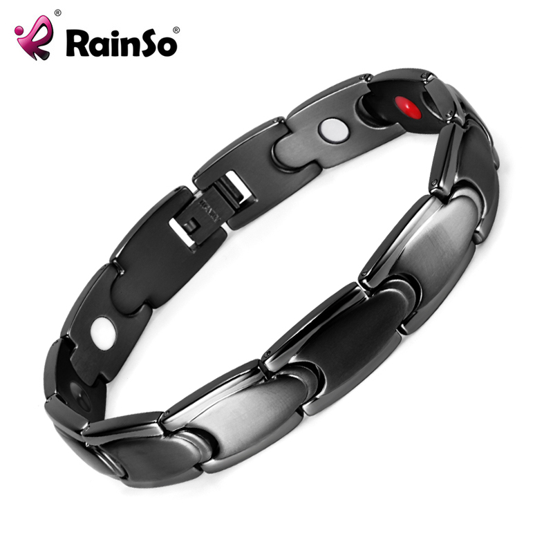Healing Magnetic Bracelet Men/Woman 316L Stainless Steel Health Care Elements Magnetic Black Bracelet Hand Chain OSB-992