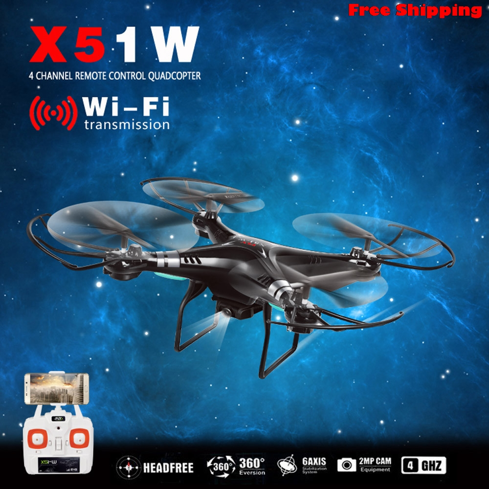 X51W 2.4G Altitude Hold HD Quadcopter RC Drone 2MP WiFi FPV Drone Hover Wifi Real-time photos transmission Free Shipping