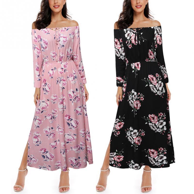 Sexy Strapless Beach Summer Maxi Dress Femme Vintage Bohemian Sundress Floral Off Shoulder Women Split Long Dresses Vestido in Dresses from Women 39 s Clothing
