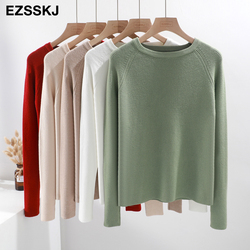 casual basic autumn winter thick Sweater Women long sleeve o-neck Soft Knit sweater Pullovers solid female  Jumper top 5