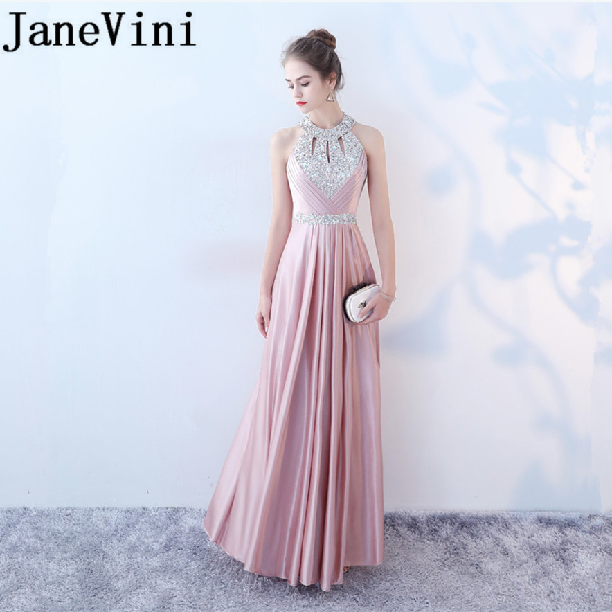 JaneVini 2018 Elegant Pink Long   Bridesmaid     Dresses   Satin Shining Sequins Crystal Sleeveless   Dress   for Party Wedding Guest   Dress