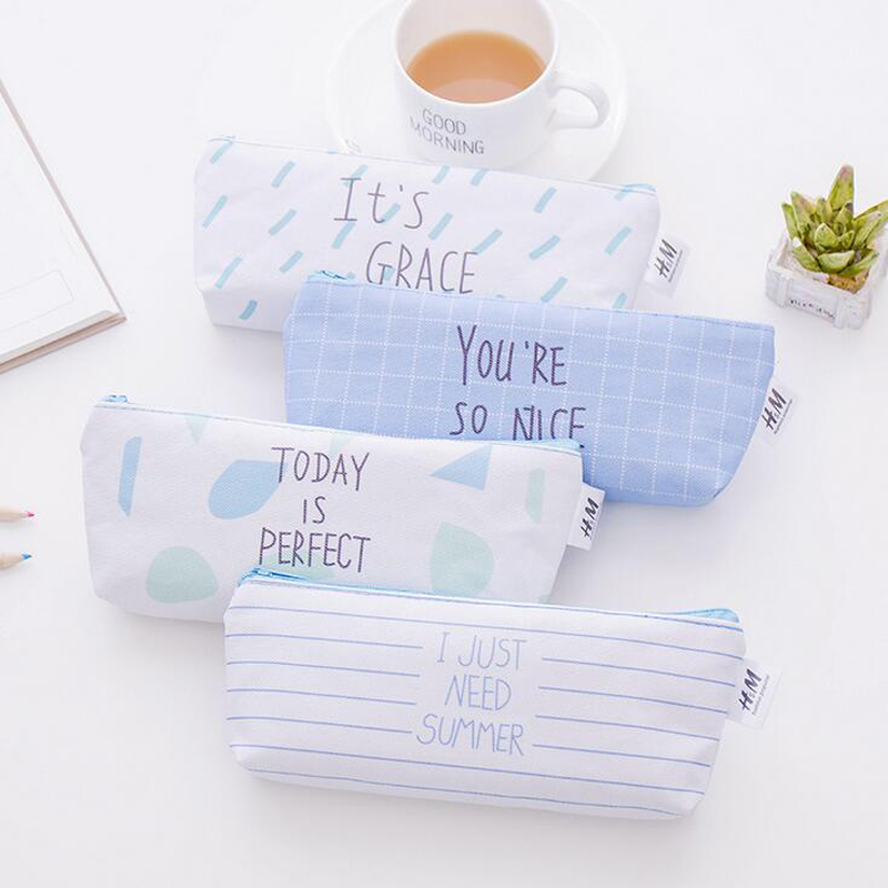 N48 Fresh Ocean Blue Letter Style Canvas Pen Pencil Case Storage School Office Supply Student Stationery Storage Phone Bag