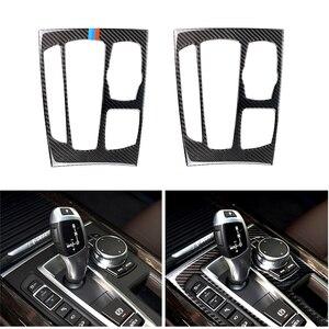 Image 1 - Автомобильный Стайлинг карбоновое волокно переключения передач Панель рамка Накладка для BMW X5 X6 F15 F16 2014 2015 2016 2017