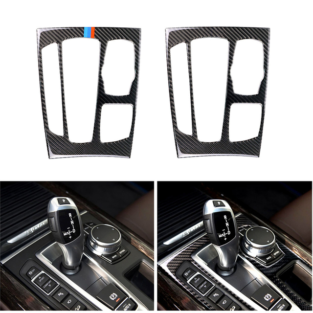 Car Styling Carbon Fiber Gear Shift Panel Frame Cover Trim For BMW X5 X6 F15 F16 2014 2015 2016 2017