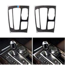 רכב סטיילינג סיבי פחמן Gear Shift פנל מסגרת כיסוי Trim עבור BMW X5 X6 F15 F16 2014 2015 2016 2017