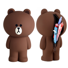 3D мультяшный коричневый медведь и кони контейнер для карандаша чехол Kawaii корейский кремнезем милый чехол-карандаш подарки для детей
