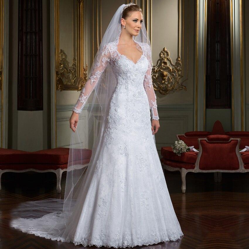 Vestido De Noiva Renda White Bridal Gowns Detachable Train