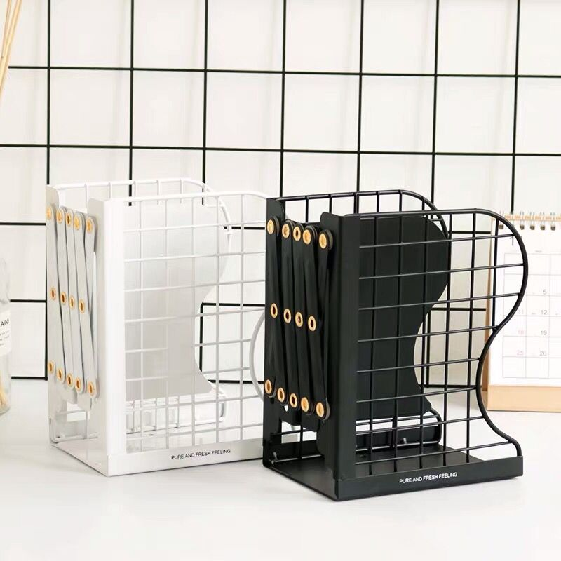 1PC Creative Rabbit Cat Grid Metal Adjustable Reading Book Bookends Stand Holder Bookshelf Document Magazine Organizer Holder