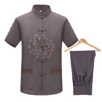 WAEOLSA Men Ethnical Shirt And Pant Suits Black Dark Gray Twinset Man Linen Tang Tunic and Trouser Set Male Oriental 2PCS