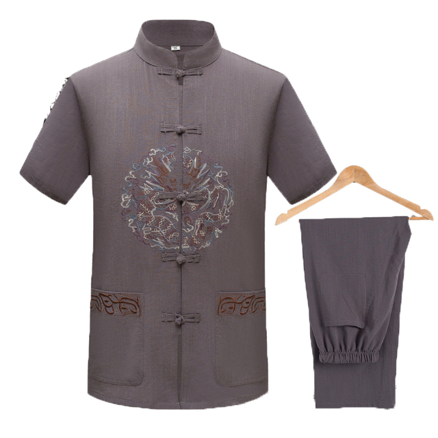 WAEOLSA Men Ethnical Shirt And Pant Suits Black Dark Gray Twinset Man Linen Tang Tunic and Trouser Set Male Oriental 2PCS Suits