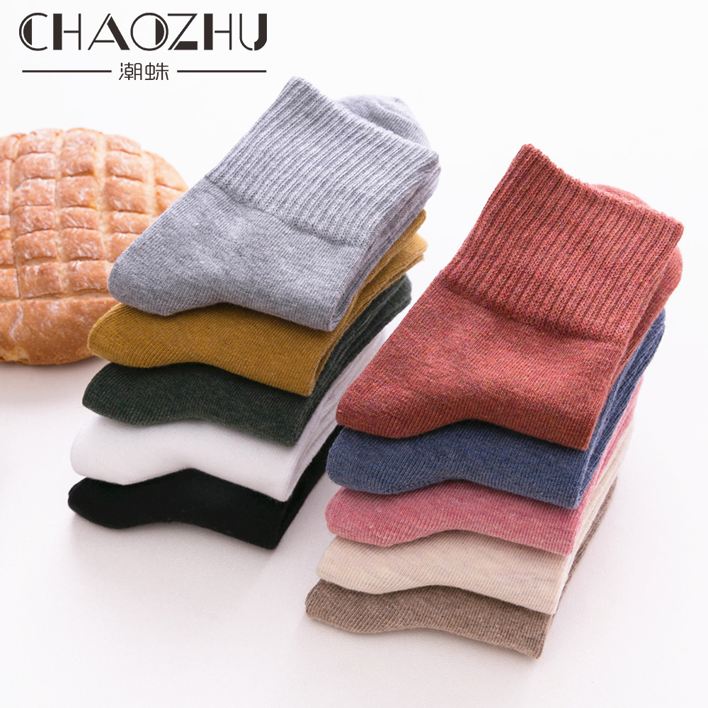 CHAOZHU Solid Colors Women 100% Cotton   Socks   High Quality Autumn Winter Rib Top Paddy Daily Basic Colorful Soft   Socks   Lady