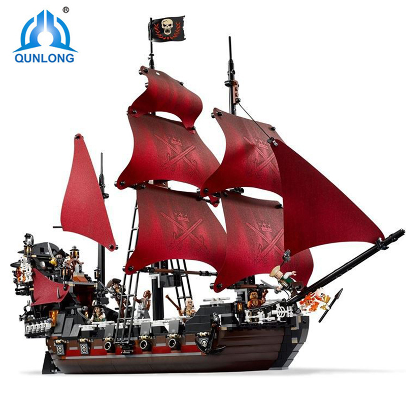 Qunlong Queen Anne's Revenge Building Blocks Pirates of the Caribbean Blackbeard Model Bricks Educational Toys For Kids Gifts 1151pcs battle ship pirates of the caribbean queen anne s revenge 16009 model building blocks toys bricks compatible with lego