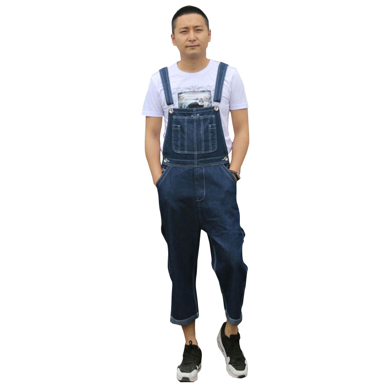 Mens Loose Size 36-42 Overalls Men Jeans Male Pocket Huge Large Size denim Brand Pants Suspenders Woker Jeans Jumpsuits Shorts