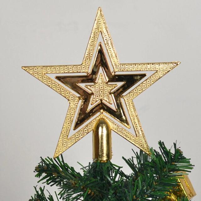 Us 0 87 42 Off 14cm Golden Glitter Star Christmas Tree Topper Ornaments Xmas Decorations Xmas Tree Star Decor In Tree Toppers From Home Garden On