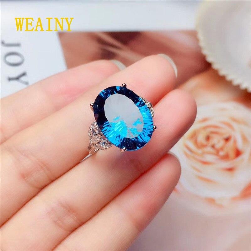 WEAINY pierre gemme roi S925 argent Sterling naturel topaze bleu londres femmes bague Solitaire (11 Ct, pierre de naissance de pierres précieuses)