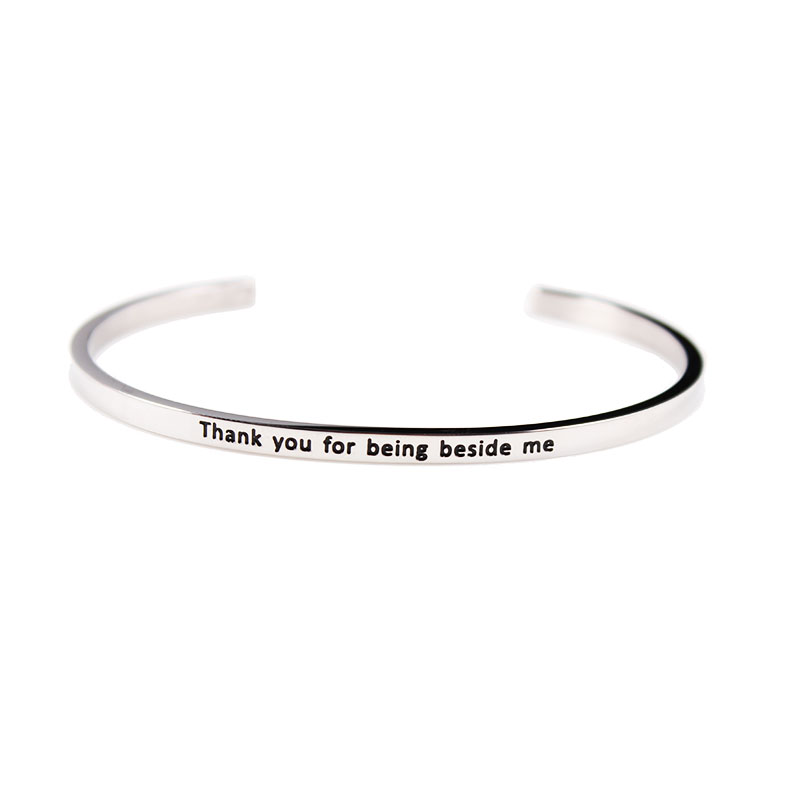 Stainless Steel Mantra Bangle Inspirational Quotes Bracelet Open Cuff 19 for Choosing