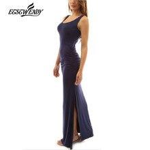2018 новый летний длинный женское платье модные О-образный воротник, без рукавов платье карандаша Для женщин пол Длина S Элегантный тонкий макси платье vestidos