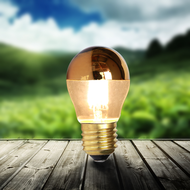 Купить с кэшбэком lamba decorative shadeless E27 led filament bulb G45 half golden top 4W 110v 220v dimmer 2700K bulbs light dimmable desk lamps