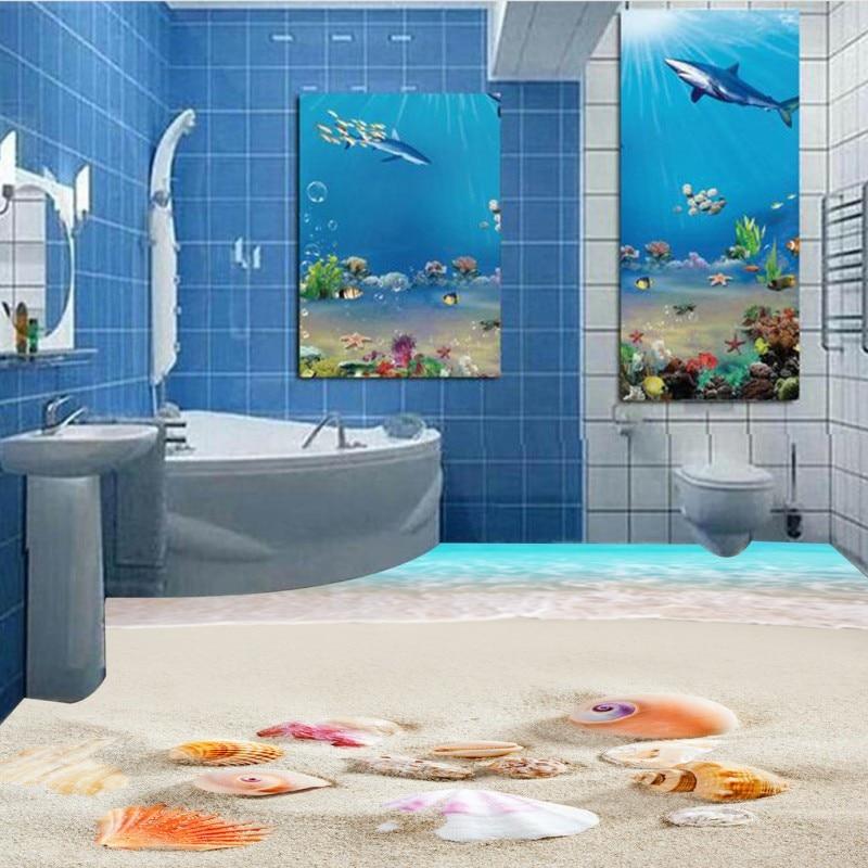 Free Shipping Blue sky white clouds sun sand shell 3D floor painting thickened bedroom living room bathroom flooring mural зенитный прожектор night sun sf011 sky rose купить