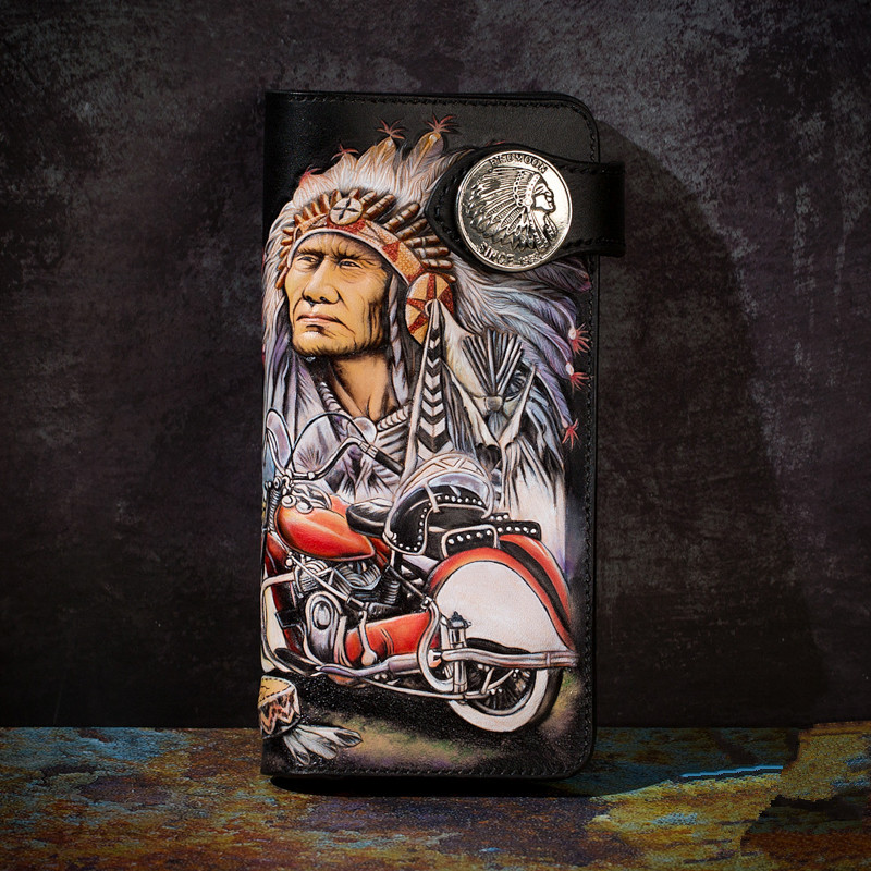 High-end Handmade Wallets Carving Indian Chiefs Purses Men Long Clutch Vegetable Tanned Leather Wallet Card Holder