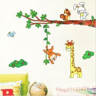 Second generation cartoon wall stickers child real decoration monkey baby sticker