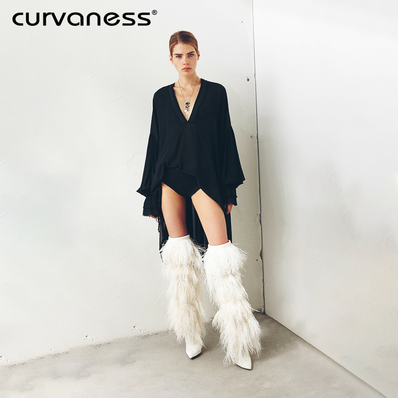 Curvaness 2018 Fur Feather Cover suede Knee high boots women Pointy Tassel High heel Leather Motorcycle Boots Winter Shoes tassel suede leather knee high women winter boots fashion folded design tassel block heeled booty