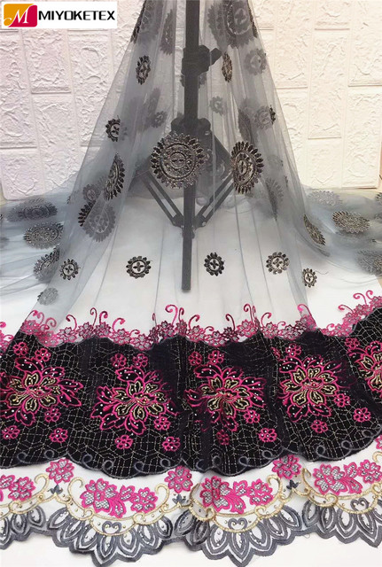 New Style French Lace Fabric Embroidered Flower African Tulle Mesh Lace Fabric High Quality With Velvet&Stones For Bride ZHA17-1