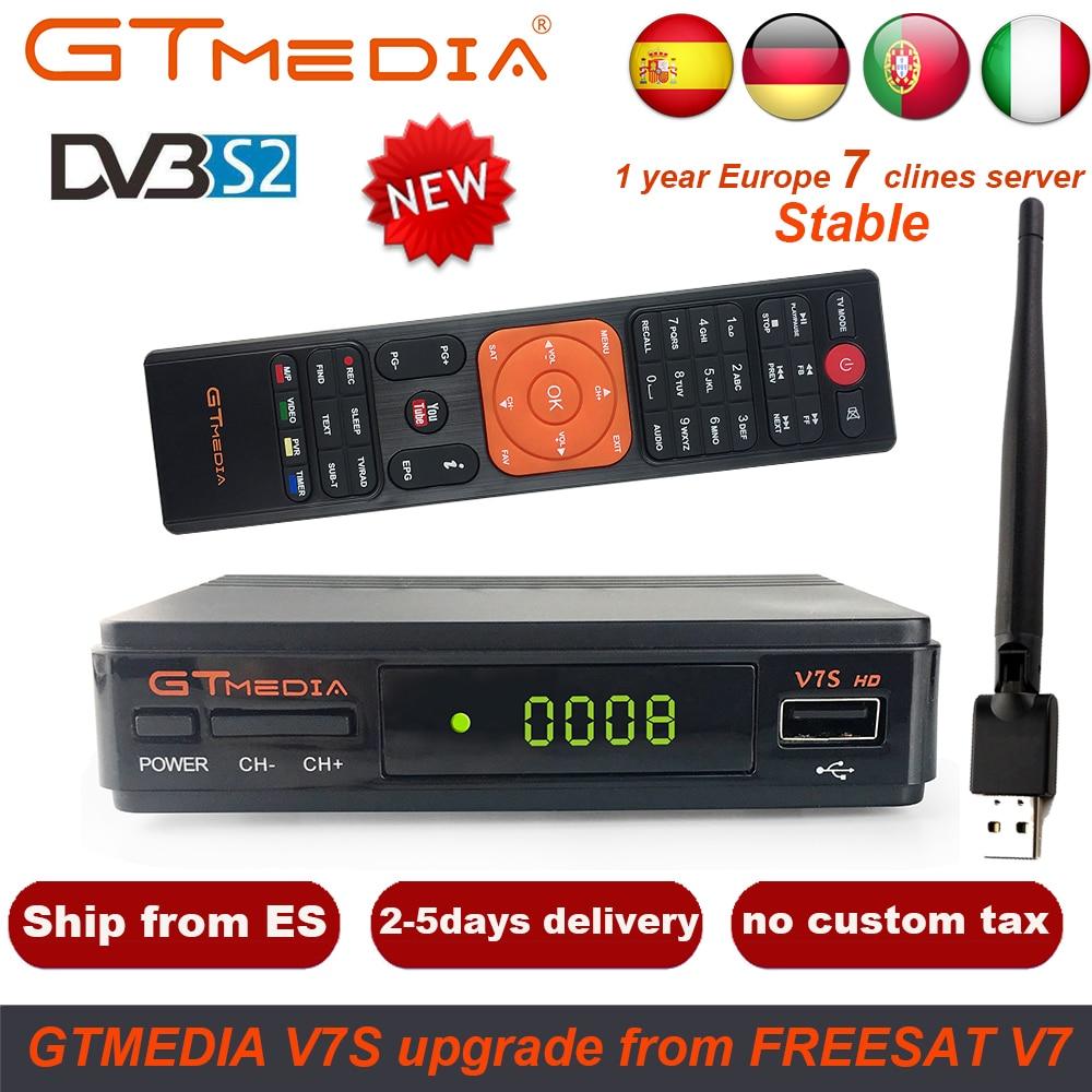 1 Year Europe 7 Clines Server GTMedia V7S HD Digital Satellite Receiver DVB-S2 V7S HD Full 1080P+USB WIFI Upgrade Freesat V7