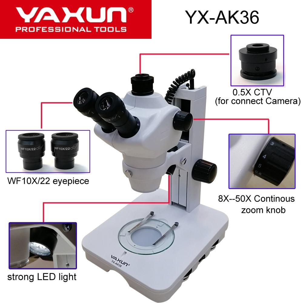 2019 NEW YAXUN YX AK36 8X 50X Professional binocular stereo microsope high quality Mobile phone repair